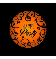Halloween text pumpkin lantern and spooky forest vector image vector image