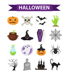 happy halloween icons set flat style isolated on vector image vector image