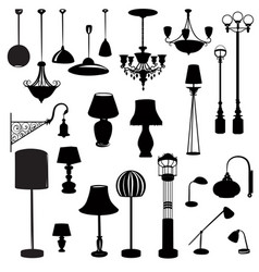 Interior furniture icons ceiling lamp set indoor vector