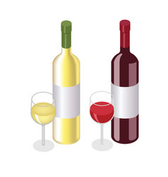 Isometric red and white wine bottles with glasses vector