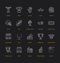 line icons of american football game vector image vector image