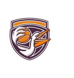 Pelican passing basketball shield retro vector