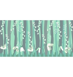 Seamless horizontal pattern with snowdrops vector image