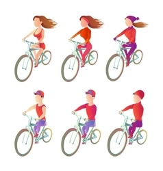 Set cyclists to ride a bike in different physical vector