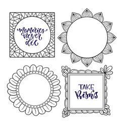 Set of frames handwritten isolated calligraphy vector