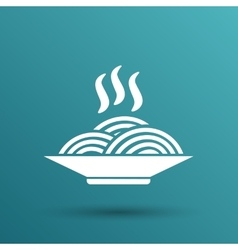 spaghetti on a plate logo dish food kitchen vector image