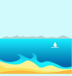 spectacular bay with small white sailboat and vector image