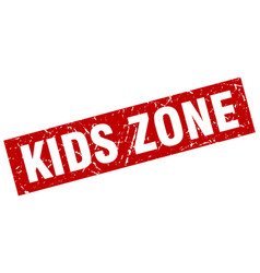 square grunge red kids zone stamp vector image vector image