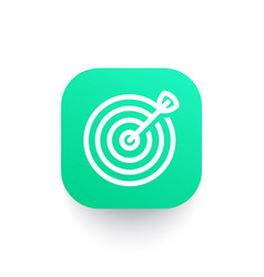 target with arrow line icon on green shape vector image