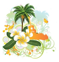 Tropical background with guitar2 vector image vector image