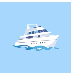 Two-Deck Ship on the Water vector image