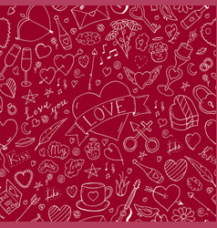 valentines day seamless pattern - doodle style vector image