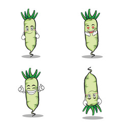 White radish character vegetable set vector