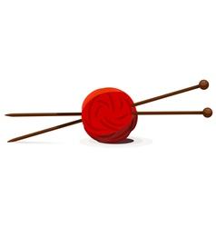 Wool ball and knitting needles vector