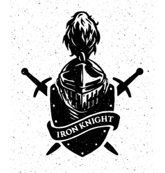 Knight helmet on a background of the shield and vector image