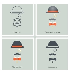 Gentleman mask disguise victorian hat mustache bow vector