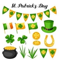 Saint patricks day objects flag ireland pot of vector