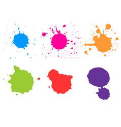 Color paint splatterspaint splashes set vector