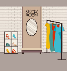 Modern loft interior showroom fashion vector