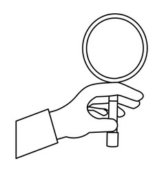 hand taking magnifying glass vector image