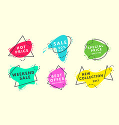 set of flat geometrical vintage color vector image