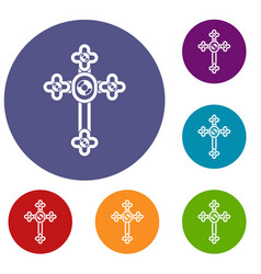 Cross with diamonds icons set vector