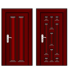 Luxury mahogany wooden door vector