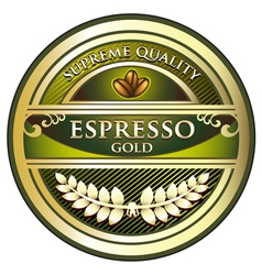 Espresso quality gold label vector