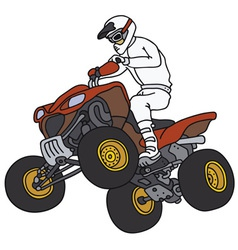 Rider on the red atv vector