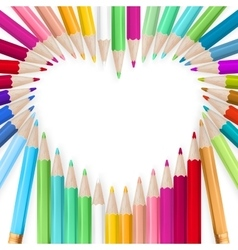 Colored pencils heart background eps 10 vector