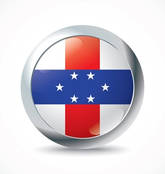 Netherlands antilles flag button vector