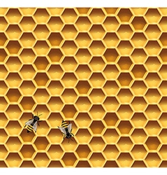 Honeycomb and bees seamless background vector