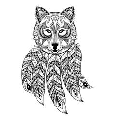 Ornamental wolf with dreamcatcher ethnic vector