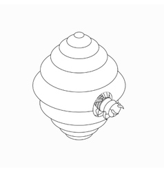 Hanging beehive with bee icon isometric 3d style vector