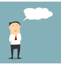 Cartoon businessman thinking with cloud or bubble vector image