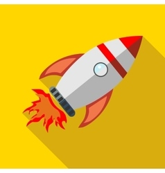Rocket launch icon in flat style vector
