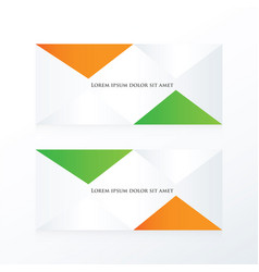 Abstract pyramid banner orange green vector