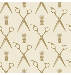 Barber scissors beard brush pattern tile vector image