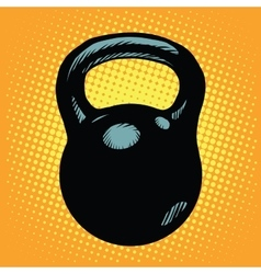 Black retro kettlebell sports equipment vector