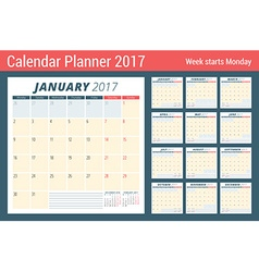 Calendar Planner for 2017 Year Week Starts Monday vector image