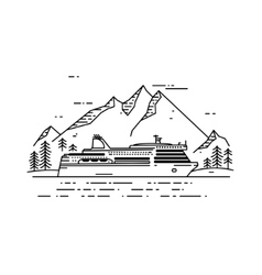 Cruise ship flat line vector image vector image