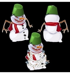 Evil snowman in three poses vector image