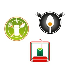 Fast food emblems and symbols vector image
