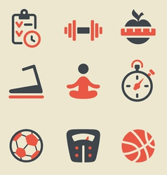 Fitness black and red icon set vector