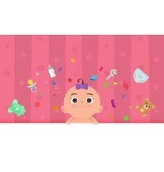Flat little happy girl with toys vector image