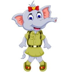 Funny elephant cartoon with safari uniform vector