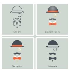 Gentleman Mask Disguise Victorian Hat Mustache Bow vector image