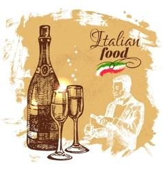 Hand drawn sketch italian food background vector