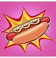 Hot dog fast food pop art style vector image