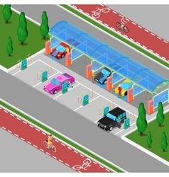 Isometric Car Wash with Vacuum Cleaners vector image vector image